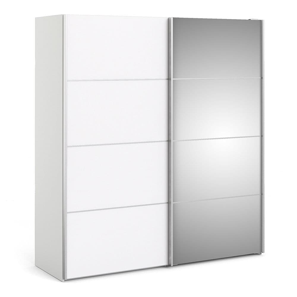 Valerian Sliding Wardrobe 180cm in White with White and Mirror Doors with 5 Shelves in White